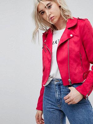 Only Suede Look Biker Jacket - Virtual pink