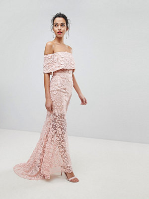Jarlo All Layered Bardot All Over Embroidered Lace Maxi Dress - Nude