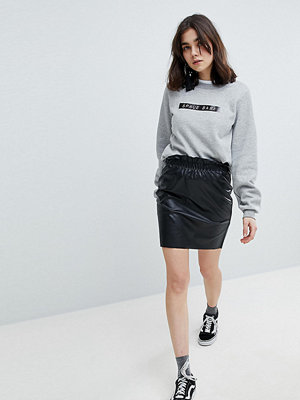Pieces Paperbag Waist Leather Look Mini Skirt