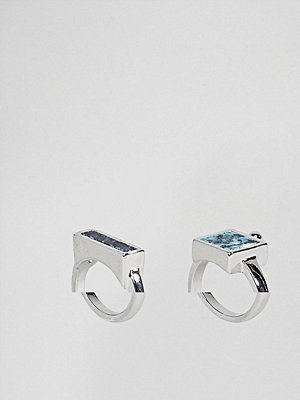 ASOS Pack of 2 Rings with Recycled Denim Stones