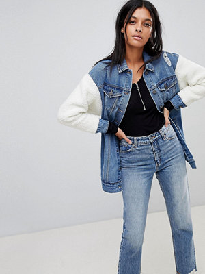 Noisy May Longline Denim Jacket with Teddy Sleeves