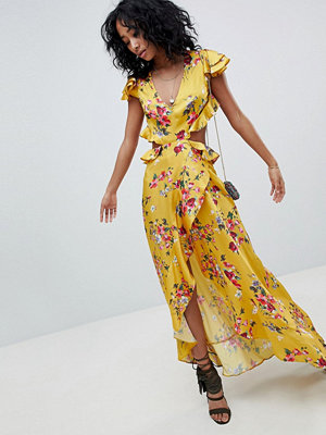 ASOS DESIGN ruffle maxi dress with cut out back in yellow floral print