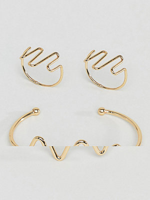 ASOS DESIGN Pack of 2 heartbeat cuff bracelet and ring