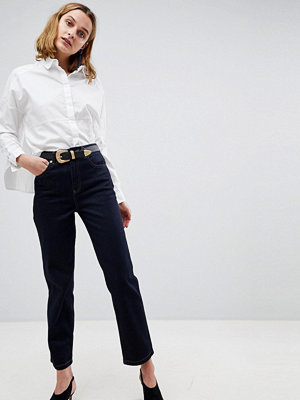 ASOS DESIGN Farleigh straight leg jeansin raw indigo wash with western belt - Indigo