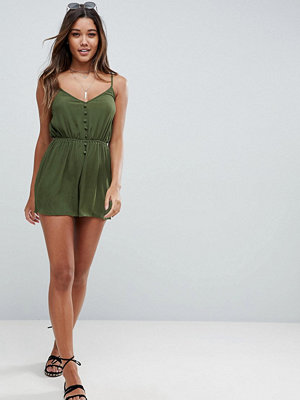 ASOS Playsuit in Crinkle with Button Front
