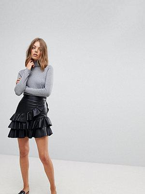 Vero Moda Leather Look Ruffle Skirt