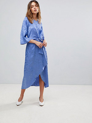 Y.a.s Satin Midi Dress With Kimono Sleeve