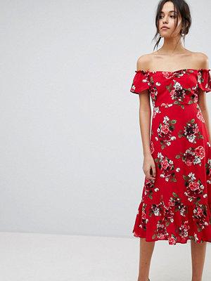 Y.a.s Floral Off Shoulder Midi Dress With Ruffle Hem