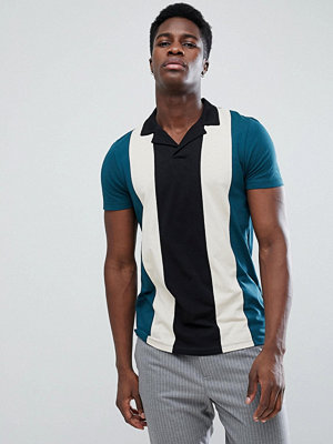 ASOS Polo Shirt With Retro Vertical Panels And Revere Collar