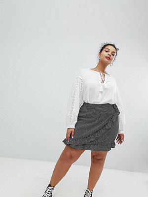 Glamorous Curve Mini Wrap Skirt In Check - Small navy gingham
