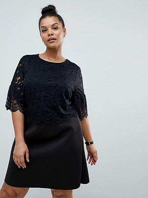 ASOS Curve ASOS DESIGN Curve lace crop top scallop mini dress