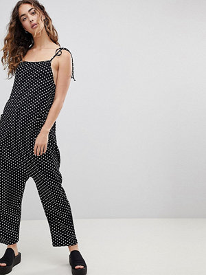 ASOS Jersey Minimal Jumpsuit with Ties in Spot Print