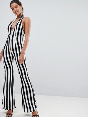 PrettyLittleThing Striped Plunge Jumpsuit