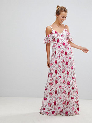 Little Mistress Printed Lace Maxi Dress