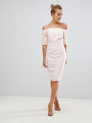Little Mistress Pencil Dress With Lace Sleeves