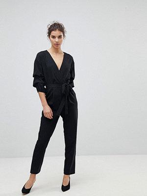 Miss Selfridge Pinstripe Ruched Sleeve Belted Jumpsuit - Stripe
