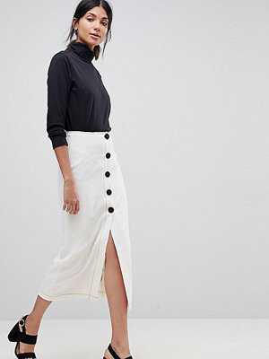 Asos Tall Midi Skirt with Contrast Buttons - Ivory