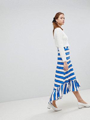 ASOS Scuba Midaxi Skirt with Scallop Hem in Stripe