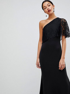 Club L One Shoulder Lace Cape Overlay Detailed Maxi Dress