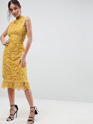 Boohoo Bib Detail Lace Midi Dress
