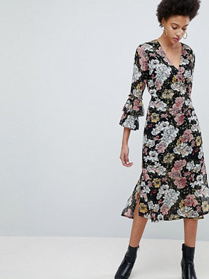 Selected Femme Wrap Midi Dress With Ruffle Sleeves