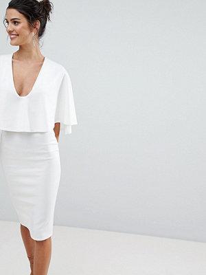 ASOS Cape Plunge Midi Bodycon Dress - Ivory