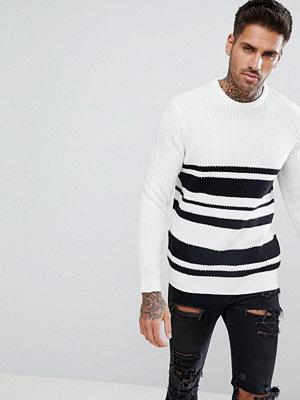 Tröjor & cardigans - Bershka Textured Striped Jumper in White and Black
