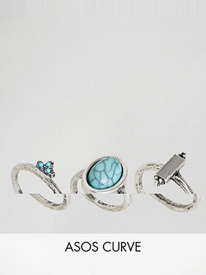 ASOS Curve ASOS DESIGN Curve pack of 3 stone and ball detail rings - Burnished silver