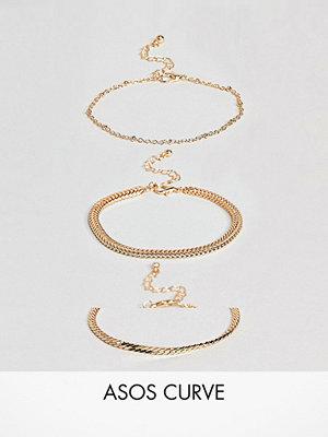 ASOS Curve örhängen Exclusive Pack of 3 Vintage Style Chain Bracelets
