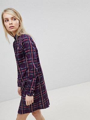 Fred Perry Tartan Check Shirt Dress - D75 claret