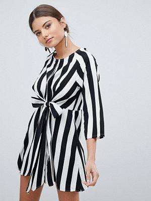 PrettyLittleThing Stripe Key Hole Tie Front Dress