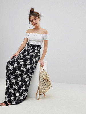 ASOS Maxi Skirt with Paperbag Waist in Mono Floral Print