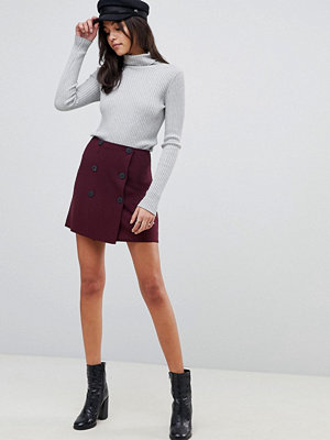 ASOS DESIGN Double breasted ponte a-Line mini skirt