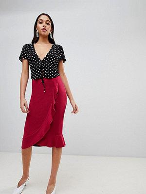 ASOS DESIGN Ruffle Front Wrap Pencil Skirt