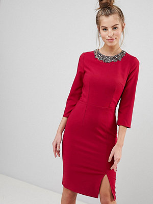 Little Mistress Bodycon Dress With Embellished Neckline
