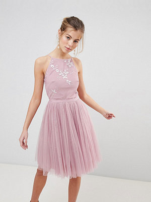 Little Mistress Mesh Skirt Prom Dress With Bead Detail Top