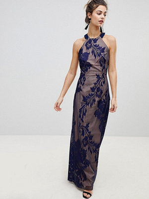Little Mistress Halter Neck Maxi Dress With Baroque Lace Overlay