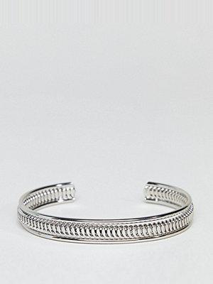 ASOS Curve armband ASOS DESIGN Curve exclusive thick textured cuff bracelet - Rhodium