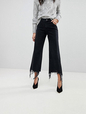 DL1961 Hepburn Crop Wide Leg Jean with Raw Hem - Savannah destroy