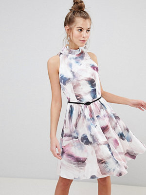 Little Mistress High Neck Prom Dress In Watercolour Print