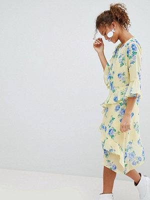 Miss Selfridge Floral Print Ruffle Midi Dress