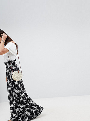 Asos Tall Maxi Skirt with Paperbag Waist in Mono Floral Print - Mono