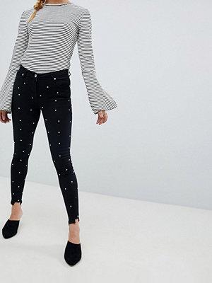 Parisian Diamante Skinny Jeans with Raw Hem