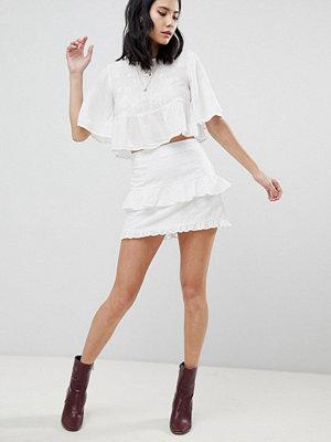 Honey Punch Mini Skirt With Ruffles & Embroidered Stars