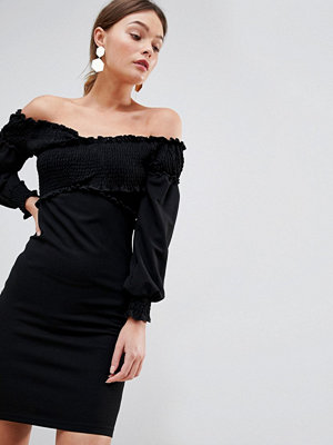 Parisian Off Shoulder Dress With Ruching Detail