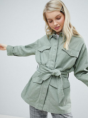 Monki Military Pocket Jacket - Khaki