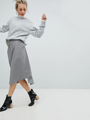 Monki Gingham Midi Skirt