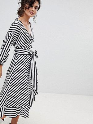 Gestuz Stripe Wrap Dress With Frill Detail - Dark blue/white