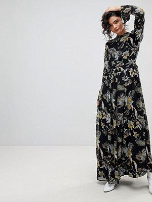Gestuz Long Black Flower Print High Neck Dress