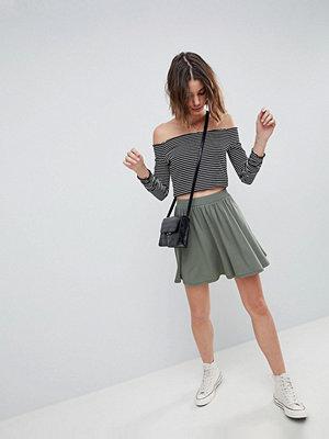 ASOS DESIGN mini skater skirt in khaki marl
